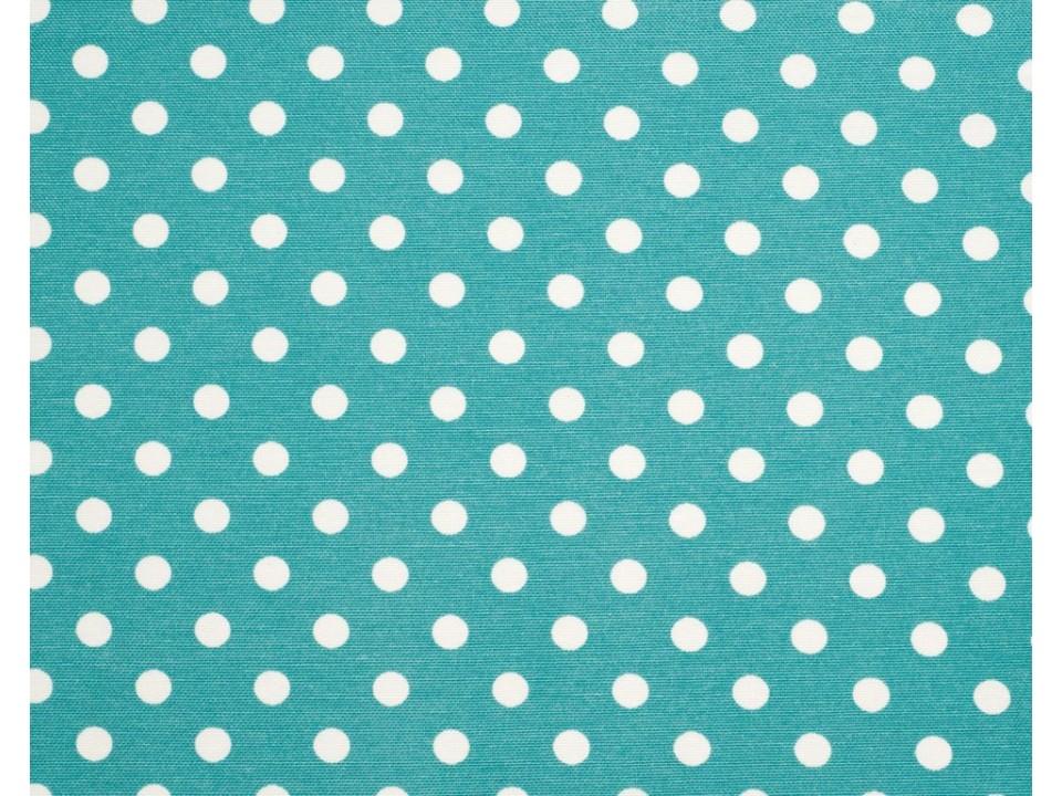 12706 - 57 Завеса / дамаска наситен тюркоаз на бели точки