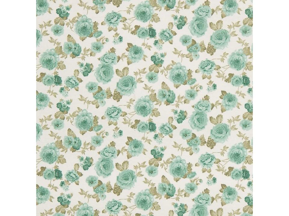 100961 - 8 -  Завеса / дамаска светло зелени цветя със кремови листа на бял фон