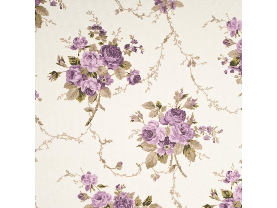 121253 - 2 - Завеса / дамаска букет от цвет в лилави нюанси на кремов фон
