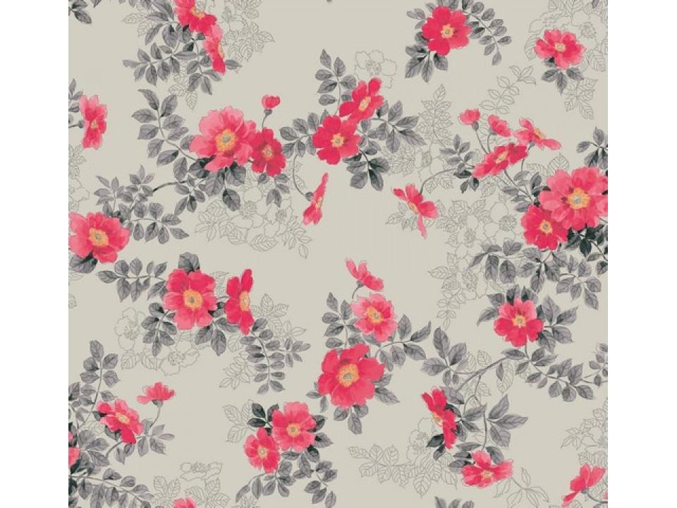 81296 - 6 Завеса / дамаска червени цветя върху сив фон
