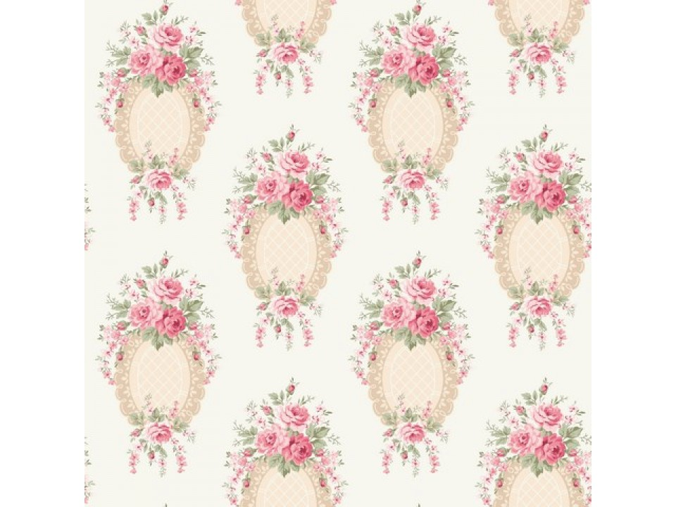 100993 - 8 Завеса / дамаска букет розови цветя