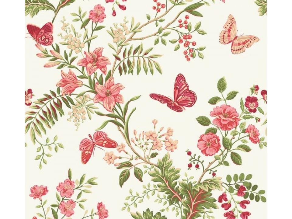 110300 - 14 Завеса / дамаска пеперуди и цветя