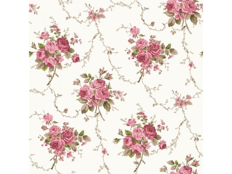 121253 - 1 - Завеса / дамаска букет от цвет в розови нюанси на кремов фон