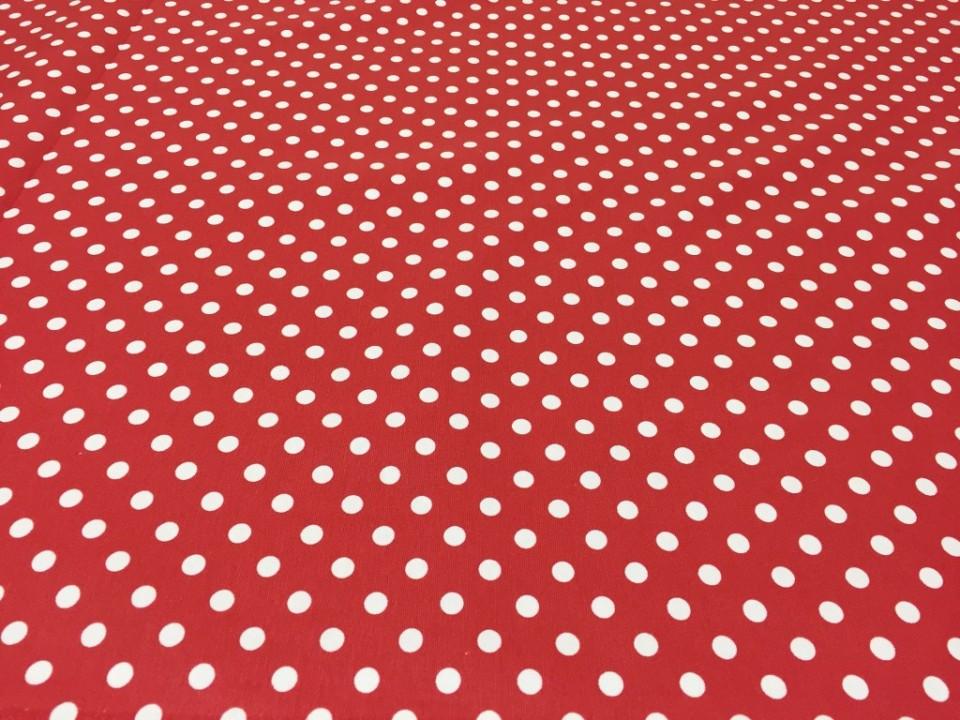 12706 -  Завеса / дамаска червена основа на бели точки