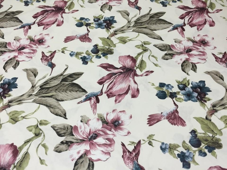 160145 - 38 Завеса / дамаска флорални мотиви в лилава и синя гама