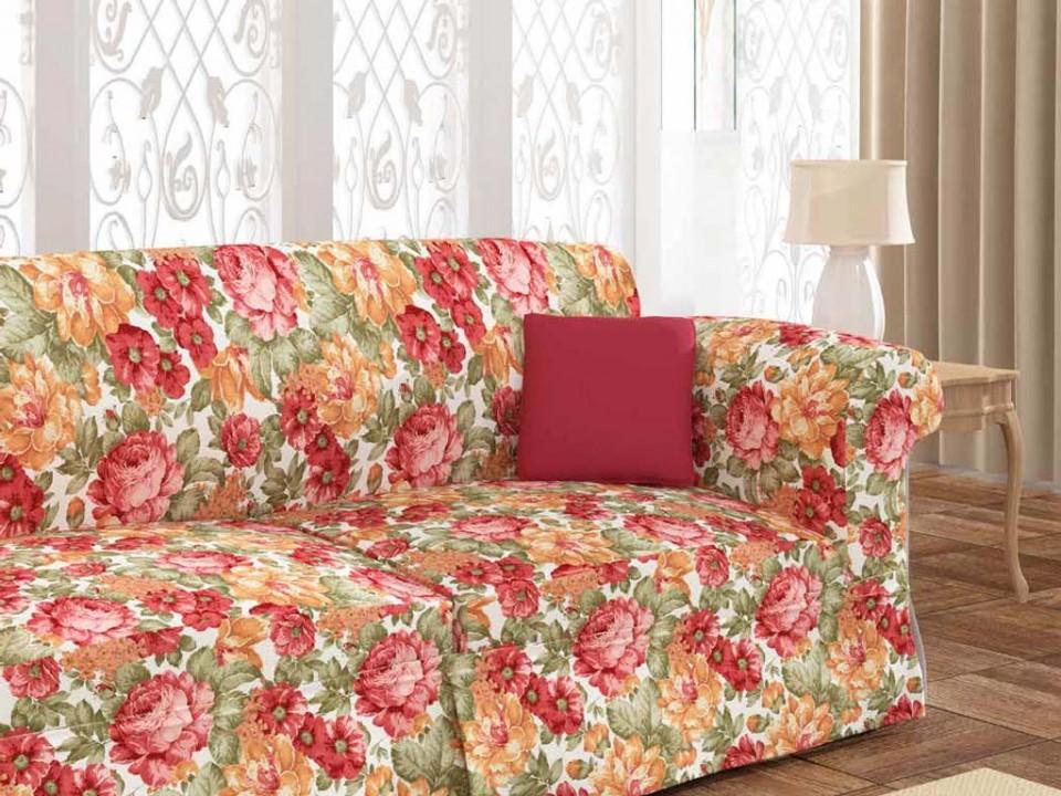 160185 - 5 Завеса / дамаска с червени и жълти цветя