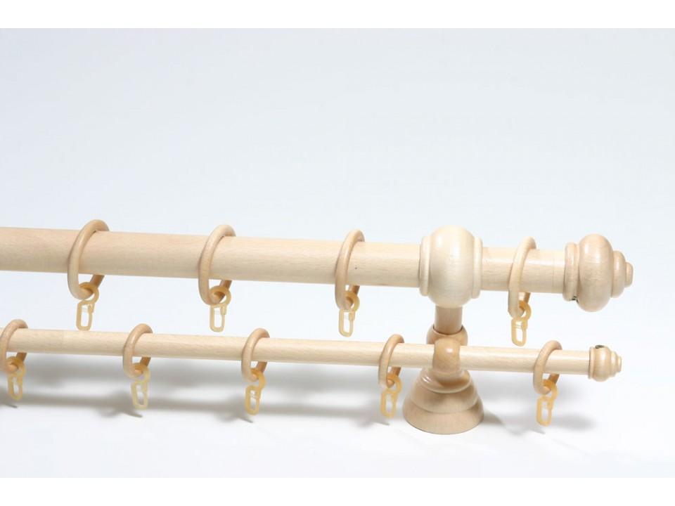 Дървен корниз ф28, двуредов, натурален бук, М1